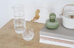 Marimekko glassware, vase and teapot