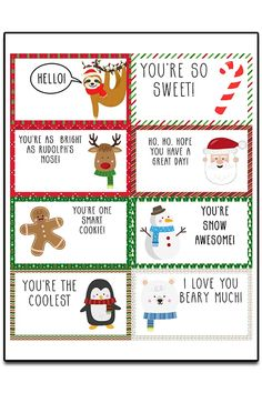 Lunchbox Notes For Kids, Kids Notes, Lunch Notes, Christmas Note, Frugal Christmas, Christmas Lunch, Christmas Parties, Xmas, Free Christmas Printables