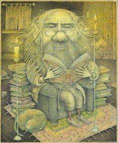 Gnome super-reader / Gnomo superlector (ilustración de Wayne Anderson)
