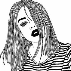 girl, drawing, and black and white image