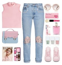 """Untitled #241"" by jovana-p-com ❤ liked on Polyvore featuring RED Valentino, Bliss and Mischief, adidas, Nails Inc., La Cartella, Chloé, LAQA & Co., Too Faced Cosmetics, Lancôme and Bobbi Brown Cosmetics"