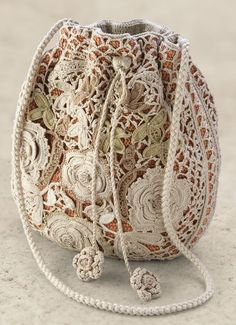 Irish lace crochet purse bag