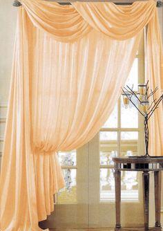PEACH CHIFFON curtain sheer window dressing by ZylstraArtAndDesign