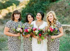 darling polka dot printed bridesmaid dresses