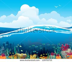 Nature vector seascape with underwater creatures and blue cloudy sky over surface