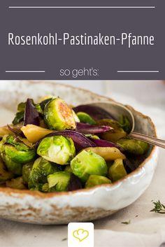 Schnelle Gemüse-Pfanne mit Rosenkohl und Pastinaken. Perfekt wenn man mal nicht so viel Zeit zum Kochen hat!