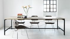 Vipp Table designed by VIPP, Denmark. Features a table top made of untreated, recycled teak planks, making each table unique. Dimension L/W/H: 250 x 95 x 72 cm.