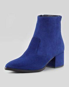 075e3c052c3b Miu Miu Suede Point-Toe Block-Heel Ankle Boot