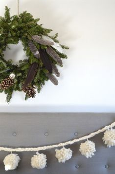 natural Christmas, simple decorating ideas - love the feather wreath! #easyholidayideas