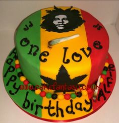 Bob Marley birthday cake with sugar image and edible spliffs!