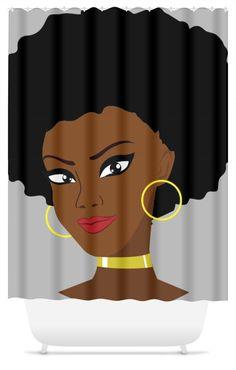 Afro Diva Shower Curtain  #shower #accessories #bag #Chocolate #bathroom #hillaryclinton #matter #marcusgarvey #phonecase #tote #nastywoman #menswear #panafricanism #egyptianking #blackqueen