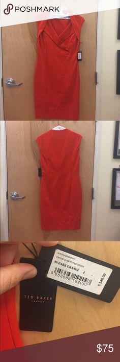 Beautiful Ted Baker Dress Chic vermillion knee-length dress. NWT Ted Baker London Dresses