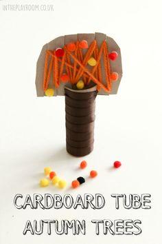 Cardboard tube Autumn trees. Fun fall craft to make with kids, good for fine motor skills