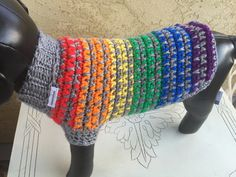 Holiday Crochet Dog Sweater Crochet Dog Clothes by KadieCrochets Free Baby Sweater Knitting Patterns, Crochet Dog Sweater, Crochet Patterns, Crochet Dog Clothes, Pet Sweaters, Rainbow Dog, Crochet Accessories, Pet Accessories, Dog Pattern