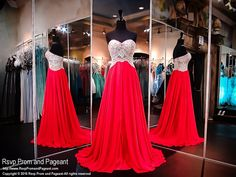 Red Strapless Chiffon Evening Gown-Crystals Sweetheart Bodice