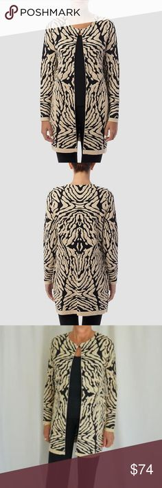 Joseph Ribkoff Zebra Cardigan Sleek & Classy, this long cardigan is a great piece to feel in power. The zebra print pattern adds the spice while the scoop neckline, button closure, open front and long sleeve add the tailoring.  50% Rayon, 35% Nylon, 15% Lurex Joseph Ribkoff Sweaters Cardigans