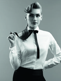 The White shirt Black Suit White Shirt, White Shirts, Tie Neck Blouse, Blouse And Skirt, Tailored Fashion, Collar Clips, Women Bow Tie, Suit Accessories, Collars For Women