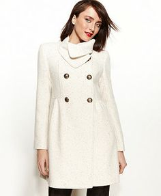 Kenneth Cole Reaction Coat, Double-Breasted Wool-Blend Metallic Babydoll