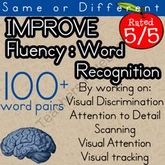 """Improve recognition for look-alike words   Therapeutic Activities for Visual Discrimination, Attention to Detail, Scanning, Visual Attention  from Selma Dawani on TeachersNotebook.com (36 pages)  - Does your student confuse words like """"left"""" and """"lift"""" or confuse number or letter combinations?"""