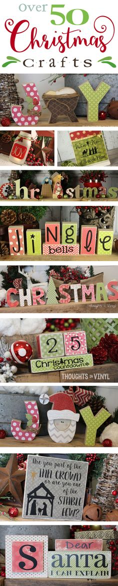 We have lots of crafts for you to choose from!  Everything from mason jar decals for neighbor gifts to wooden letters to decorate your mantle.