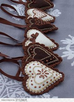 Embroidered and Embellished Chocolate Color Heart.