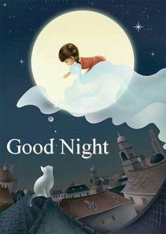 Good night I hope you sleep well. Good Night Beautiful, Good Night Sweet Dreams, Good Night Moon, Good Night Image, Beautiful Moon, Good Morning Good Night, Art Carte, Sun And Stars, Art Et Illustration