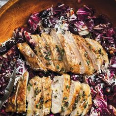 If you're not already a radicchio fan, this salad will make you one. Grilled Chicken Breast Recipes, Best Chicken Recipes, Winner Winner Chicken Dinner, Food 52, Soup And Salad, Chicken Breasts, Pizza, Healthy Recipes, Stuffed Peppers