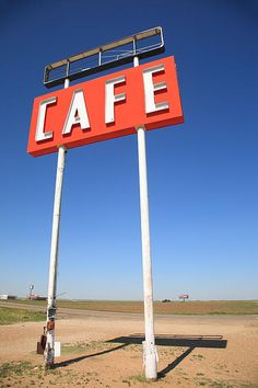 "Route 66 - Tall cafe sign used to pull them in off old Rt. 66 in Adrian, Texas. ""The Fine Art Photography of Frank Romeo."""