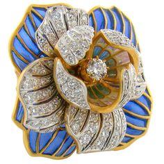18K Yellow Gold, Diamond & Enamel Ring by Masriera