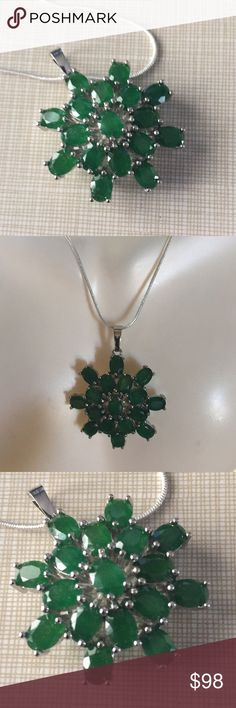 """Sterling silver Natural emerald pendant Beautiful design stylish elegant classy sterling silver stamped 925 pendant approximately 1""""1/2 wide to 1""""1/2 long chain is approximately 16"""" long perfect gift for a sophisticated lady Nwot Jewelry Necklaces"""
