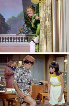 """Above: Character actor Dick Wesson's reluctant drag number, """"Hive Full of Honey,"""" is a comic highlight in Calamity Jane. Below: Wesson in drag again, fifteen years later in an episode of That Girl with Marlo Thomas. Doris Day Movies, Retro Fashion, Girl Fashion, Marlo Thomas, Star Of The Day, Calamity Jane, Secret Love, Vintage Outfits, Vintage Clothing"""