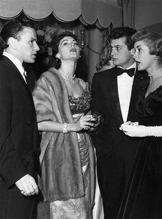 Ava Gardner, Frank Sinatra, Tony Curtis and Janet Leigh at the Empress Clubin London, 1952