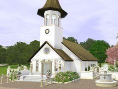 A new romantic wedding church for your city or town. Which month is better for a wedding like May? So dress up your sims for a wedding and visit this church. Found in TSR Category 'Sims 3 Community Lots' The Sims, Sims Love, Sims Cc, Sims Building, Building Plans, Sims 3 House Downloads, Sims 3 Wedding, Sims3 House, Sims 3 Worlds