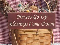 """Prayers Go Up Blessings Come Down painted wood sign 5.5"""" x 16"""" choice of color"""