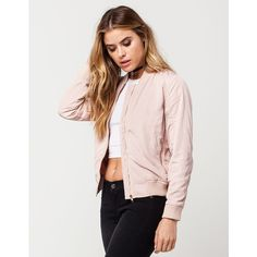San Souci Nylon Womens Bomber Jacket ($37) ❤ liked on Polyvore featuring outerwear, jackets, zip front jacket, pink jacket, sans souci, flight jacket and collar jacket