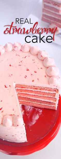 Triple Strawberry Cake with Strawberry Cream Cheese Frosting. This cake is made with all real strawberries! No artificial flavors, NO added J-Ello. via /karascakes/