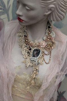 Victorian fantasy  necklace delicate  shabby chic