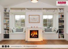 #haro #style #floor #flooring #winter #livingroom #ibd Decor, Living Room, Cottage, Home, Fireplace Windows, Fireplace Bookshelves, Flooring, Fireplace, Window Seat