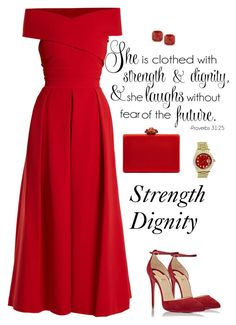 """""""Strength"""" by gemique ❤ liked on Polyvore featuring Preen, Christian Louboutin, Kate Spade, Rolex and Oscar de la Renta"""
