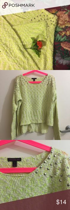 Material Girl Neon Green Studded Hi Lo Sweater Size medium Material Girl from Macy's sweater. Features high low hi lo design. White with neon green threads, and studding on shoulders. The perfect dressy casual sweater, and very unique. No flaws. Material Girl Sweaters Crew & Scoop Necks