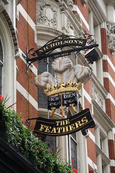 The Feathers......Broadway, Westminster England. Look out for interesting pub signs all over London
