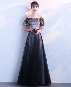 Black Prom Dresses Long Off The Shoulder Formal Dress Lace Tulle Floor Length Evening Gowns Black Evening Dresses, Black Prom Dresses, Ball Dresses, Elegant Dresses, Pretty Dresses, Beautiful Dresses, Ball Gowns, Formal Dresses, Dress Prom