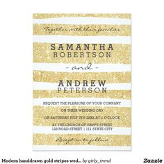 Modern handdrawn gold stripes wedding 5x7 paper invitation card