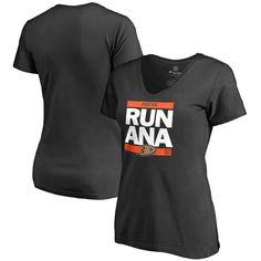 Anaheim Ducks Women's RUN-CTY Slim Fit V-Neck T-Shirt - Black - $31.99
