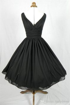 An Elegant 50s Style Cocktail Dress Classic Design in Black Chiffon V-neck Any Size Welcome, $91.1 | DHgate.com