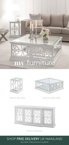 Mirrored Furniture, My Furniture, Furniture Design, American Interior, Coffee Table Styling, Radiator Cover, Safety Glass, My Living Room, Sofa Chair
