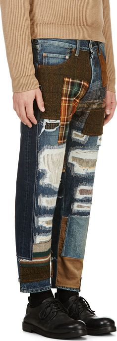 new yesterday - use again - slow fashion Junya Watanabe: Blue Patchwork Jeans