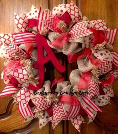 Burlap Wreath Rustic Wreath Initial Wreath Red by DawslynDecor