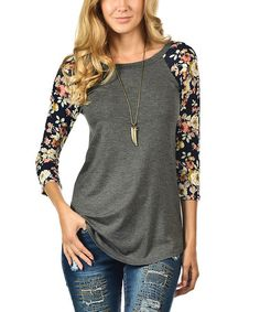 Look what I found on Charcoal Floral Raglan Top Buy Online Womens Top and Black T-shirt Women Ladies at fashion cornerstone. Great discounts all season Raglan Shirts, Look Fashion, Fashion Outfits, Womens Fashion, Womens Clothing Stores, Clothes For Women, Women's Clothing, Floral Clothing, Ladies Clothes