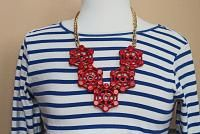 DIY: Nautical Red Necklace   Stripes & Sequins #diy